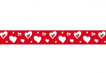Washi páska - 2cm x 10m / Small hearts on red background