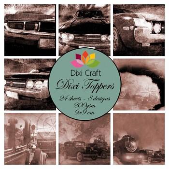 Dixi Toppers 9x9cm Retro Cars - Sepia / sada kartičiek