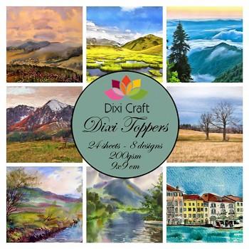 Dixi Toppers 9x9cm Watercolor Landscape / sada kartičiek