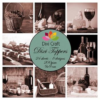Dixi Toppers 9x9cm Wine - Sepia / sada kartičiek