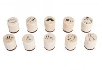 Mini Holzstempel-Set Marry, 2cm / 10St.