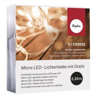 micro LED-garland of lights with wire, 220cm, 20 lights