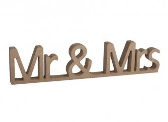MDF nápis Mr & Mrs / 24x1,5x5,5cm