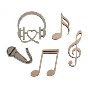 Wooden small objects Music 1.4-3 x 2.8-4 cm / 12pcs