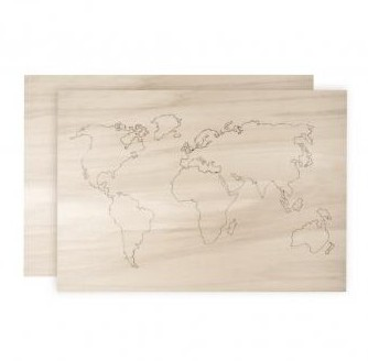 Wood.world map 42 x 29.7 x 0.4 cm