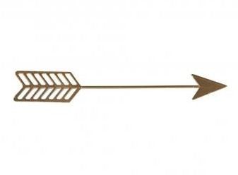 Metal-deco Cupid's arrow, 16.3x2.5x0.15cm, set 2pcs