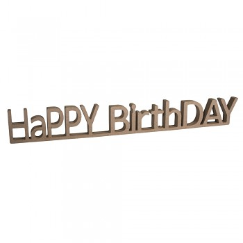 MDF nápis HaPPY BirthDAY / 42x1.5x5.5cm