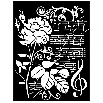 Šablóna / 20x25cmx0,5mm / Rose and music