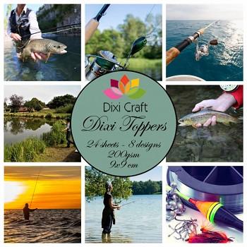 Dixi Toppers 9x9cm Fishing / sada kartičiek