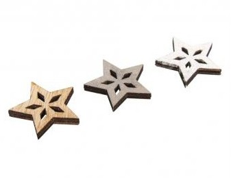 Small wood.items Stars, 3.5cm / 12pcs