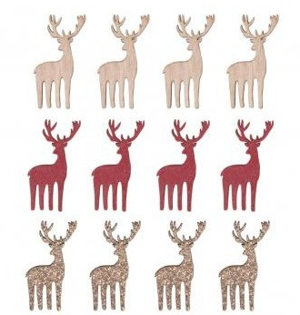 Small wooden items Deer, 2.1x5cm / 12pcs