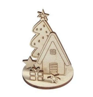 Wooden objects Winterhome 5x5,8cm / 2pcs