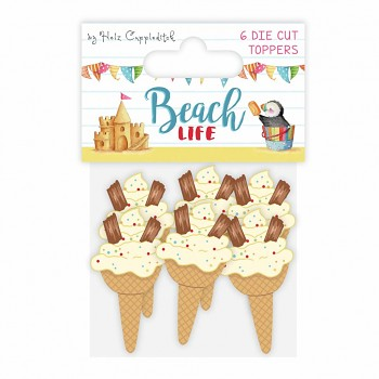 Beach Life Painted Wooden Toppers / 6pcs