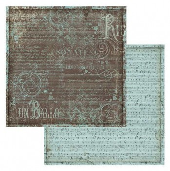 Scrapbooking paper / 12x12 / Music Turquoise texture
