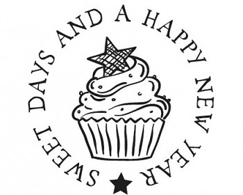 Drewniane Stamp / Cupcake New Year / 3cm