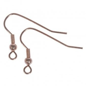 Ear hooks / 20mm / 4 pcs / pink-gold
