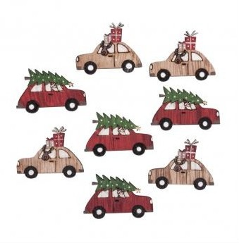 Small wooden items Cars, 4cm / 8pcs