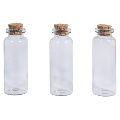 Glass container with cork lid / 2 3cm x 6 5 cm / 20ml / 3pcs