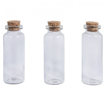 Glass container with cork lid / 2.3cm x 6.5 cm / 20ml / 3pcs