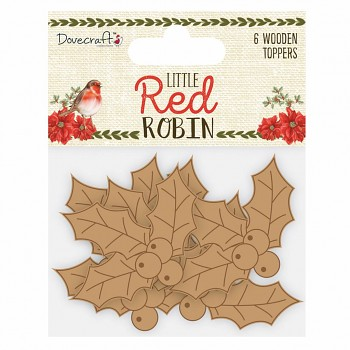 Little Red Robin Wooden Shapes Holly / 6pcs
