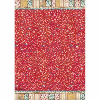 Reispapier A4 / Patchwork texture red background