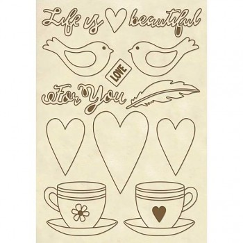 "Drevené výrezy A5 / ""Life is beautiful"" cups"