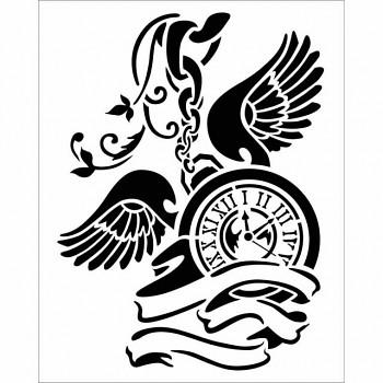 Šablóna / 20x25cm / Pendulum clock with wings
