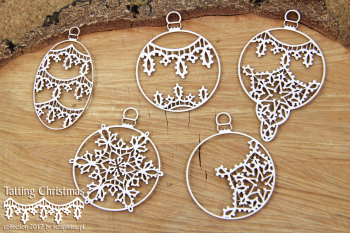 Chipboards - Tatting christmas - big baubles / 8x5cm / 5ks