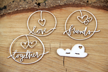 Chipboards - Clouded hearts - together