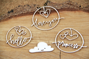 Chipboards - Clouded hearts - princess