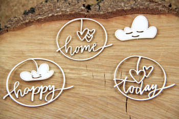 Chipboards - Clouded hearts - Happy