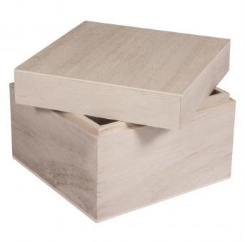Wooden box with top, 12x12x9cm