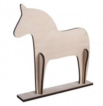 Wood.horse, Scandinav., 4-part, 22.5x22x0.6cm