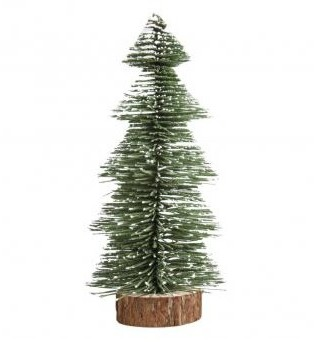 Deco-fir tree, snow-covered, 25cm, green,w.wooden base