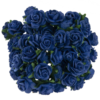 Mulberry Paper Open Roses 2,5cm / 5pcs / Royal Blue