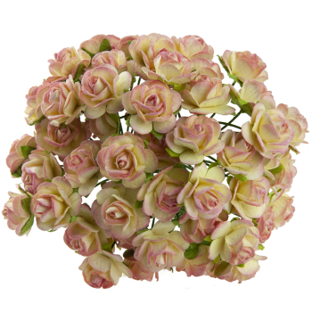 Papierblume / Roses 2,5cm / 5St. /  2-tone champagne pink