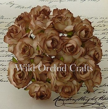 Mulberry Paper Wild Roses 3cm / 10pcs / 2-tone brown