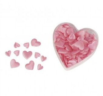 Satin textile objects: heart, padded pale-pink / 100pcs