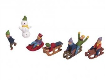 Plastic miniatures Children's sledge, assorted, 1.5-2cm, tab-blister 6pcs