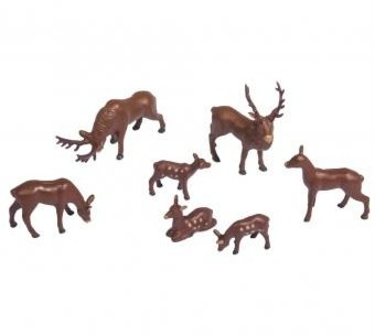 Plastic miniatures Deer, assorted, 1.5-3cm, 7pcs