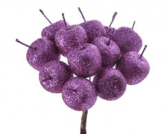 Glitter apple 2cm / 12pcs / purple