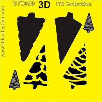 Stencil 16x16cm / 3D Christmas tree 3