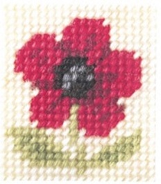 Cross stitch kit 11x13 cm - flower