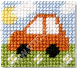 Cross stitch kit 11x13 cm - car