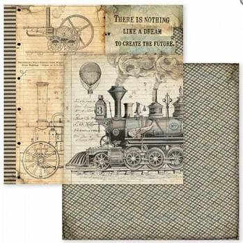 Scrapbookový papier / 12x12 / Voyages Fantastiques stream train
