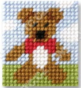Cross stitch kit 11x13 cm - teddybear