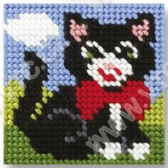 Cross stitch kit 10,5x10,5 cm - kitten