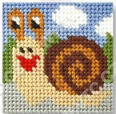 Cross stitch kit 10,5x10,5 cm - snail