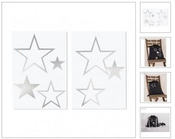 Iron-on transfer foil Star, 6 pieces, 4-14.5 x 4-11.5cm, 2sheets, silver