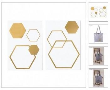 Iron-on transfer foil Honeycomb, 5 pcs, 6-13.5 x 5.1-15.5cm, 2sheets, gold